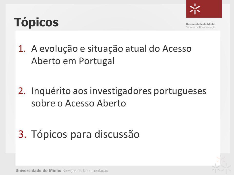 Tópicos 1.A evolução e situação atual do Acesso Aberto em Portugal 2.Inquérito aos investigadores portugueses sobre o Acesso Aberto 3.Tópicos para discussão