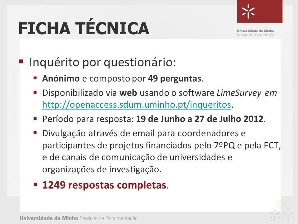 FICHA TÉCNICA Inquérito por questionário: Anónimo e composto por 49 perguntas. Disponibilizado via web usando o software LimeSurvey em http://openacce