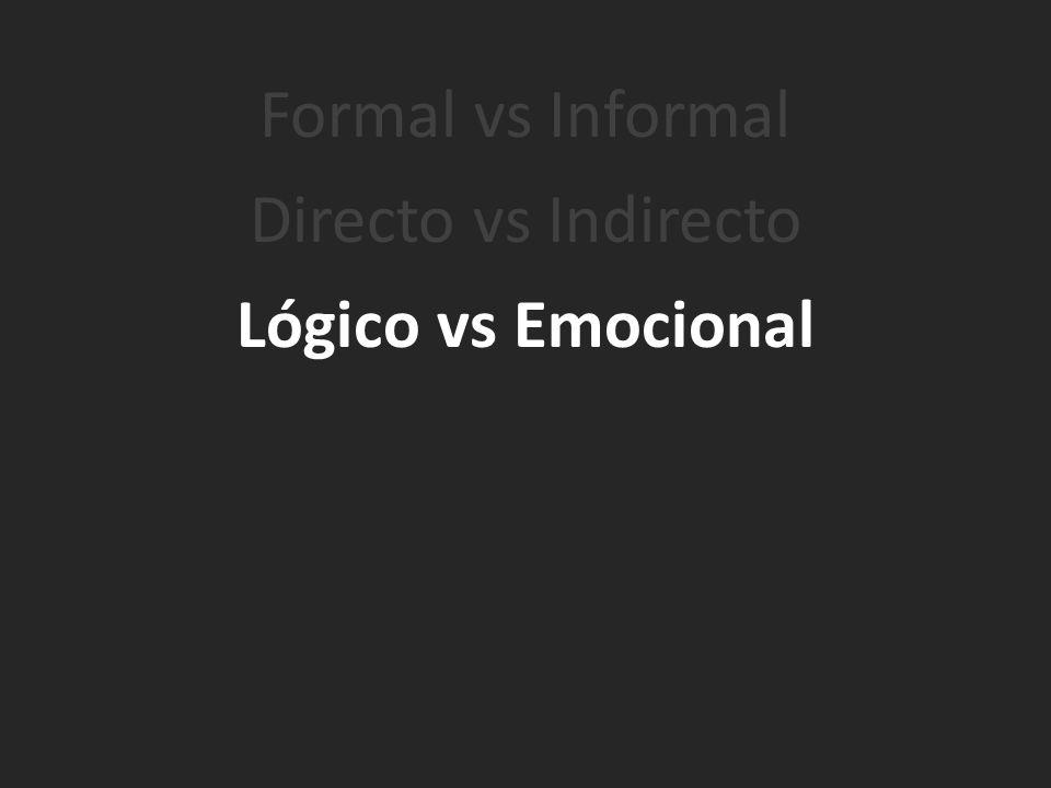 Formal vs Informal Directo vs Indirecto Lógico vs Emocional