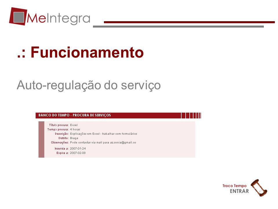 .: Funcionamento Auto-regulação do serviço