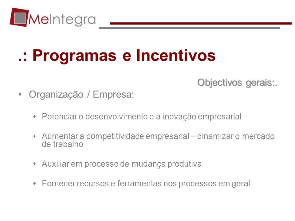 .: Programas e Incentivos Objectivos gerais:. Organização / Empresa: Potenciar o desenvolvimento e a inovação empresarial Aumentar a competitividade e