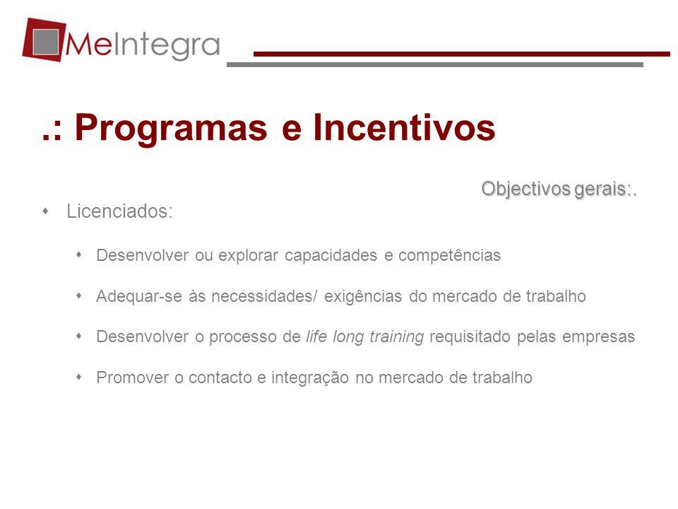 .: Programas e Incentivos Objectivos gerais:. Licenciados: Desenvolver ou explorar capacidades e competências Adequar-se às necessidades/ exigências d