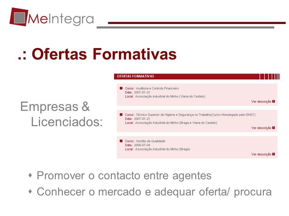.: Ofertas Formativas Empresas & Licenciados: Promover o contacto entre agentes Conhecer o mercado e adequar oferta/ procura