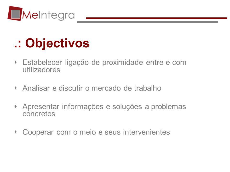 .: Objectivos Estabelecer ligação de proximidade entre e com utilizadores Analisar e discutir o mercado de trabalho Apresentar informações e soluções