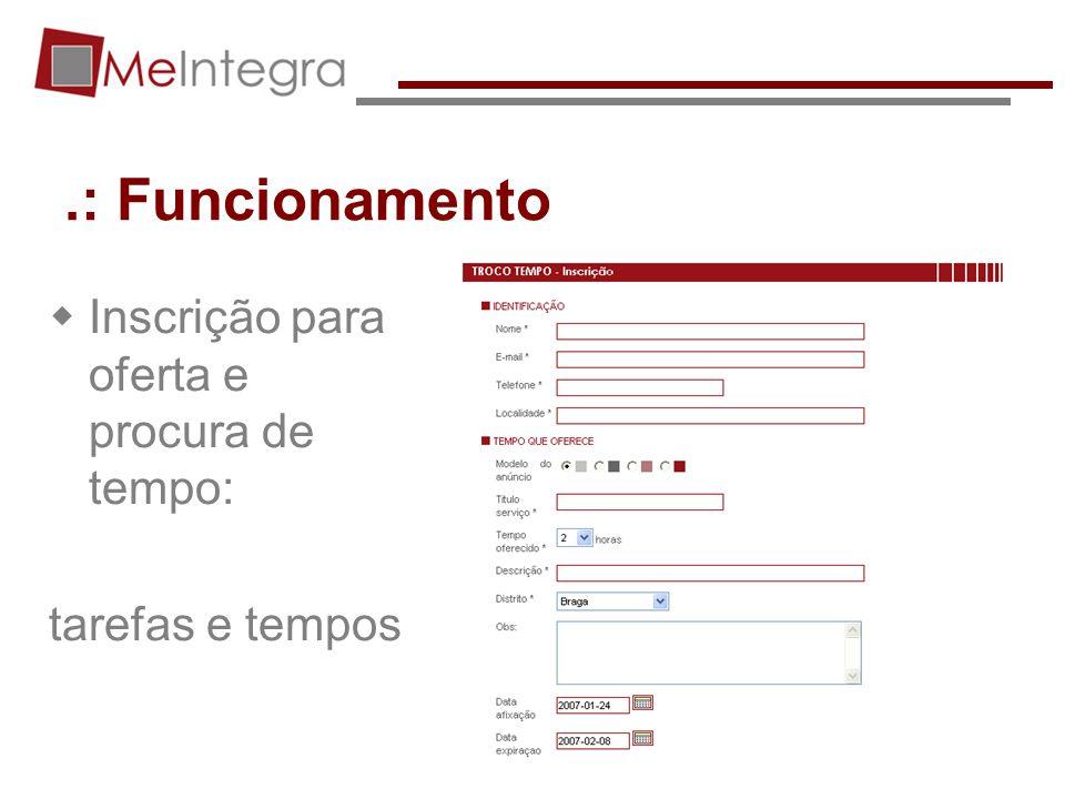 .: Funcionamento Inscrição para oferta e procura de tempo: tarefas e tempos