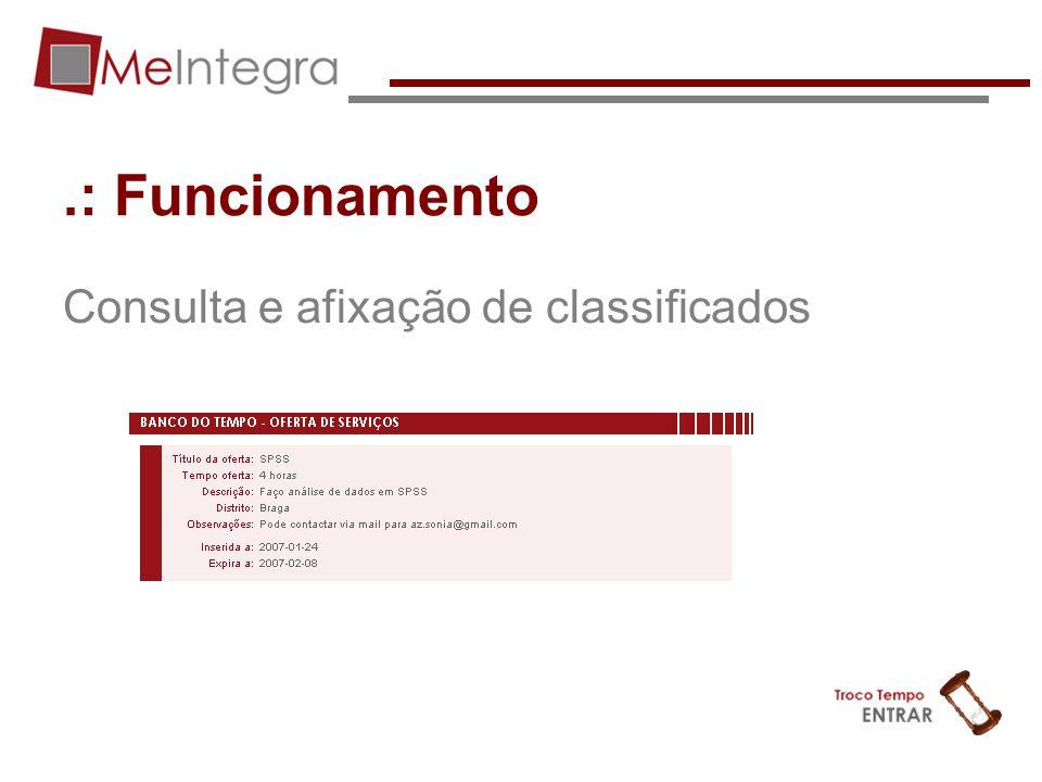 .: Funcionamento Consulta e afixação de classificados