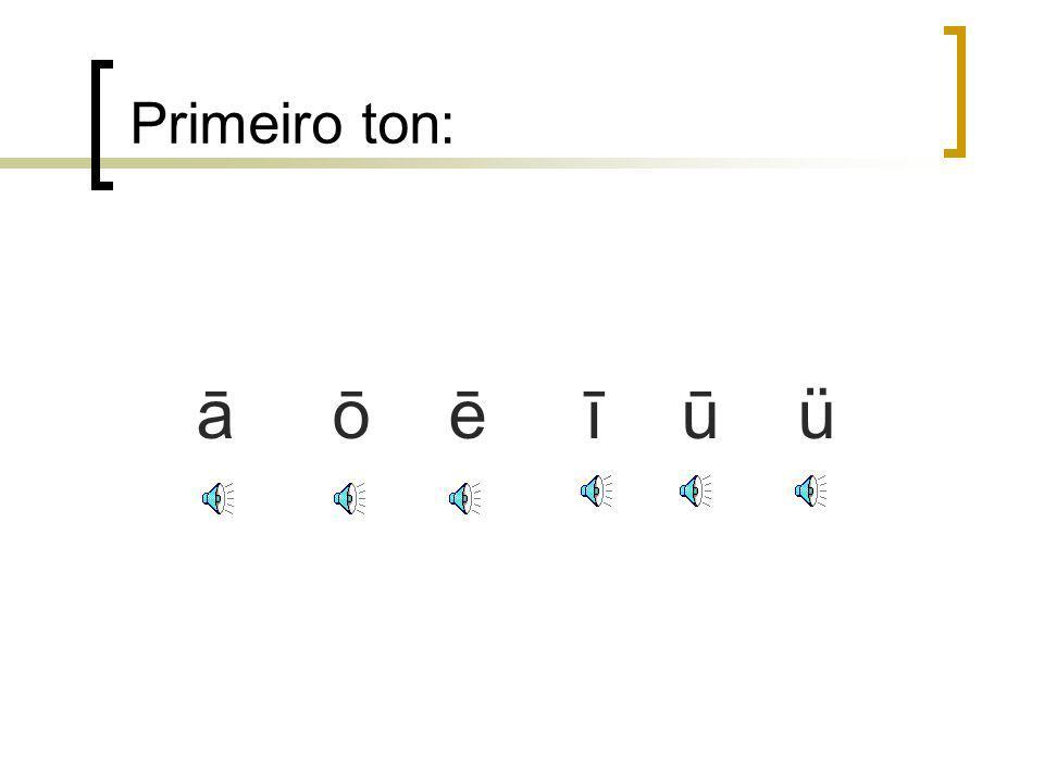 1. Os 4 tons Zona de tonalidades 1. hēi preto2. hóng vermelho 3. zĭ roxo 4. lù verde Alta e baixa de voz