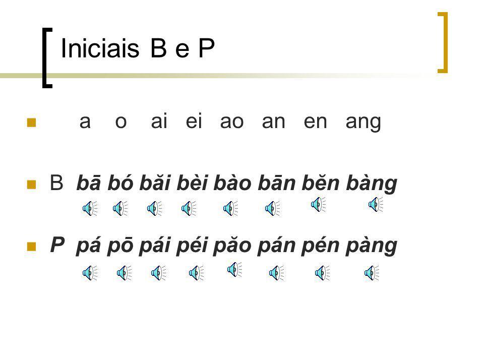 Iniciais B e P a o ai ei ao an en ang B bā bó băi bèi bào bān bĕn bàng P pá pō pái péi păo pán pén pàng