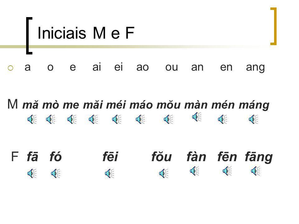 Iniciais M e F a o e ai ei ao ou an en ang M mă mò me măi méi máo mŏu màn mén máng F fā fó fēi fŏu fàn fēn fāng