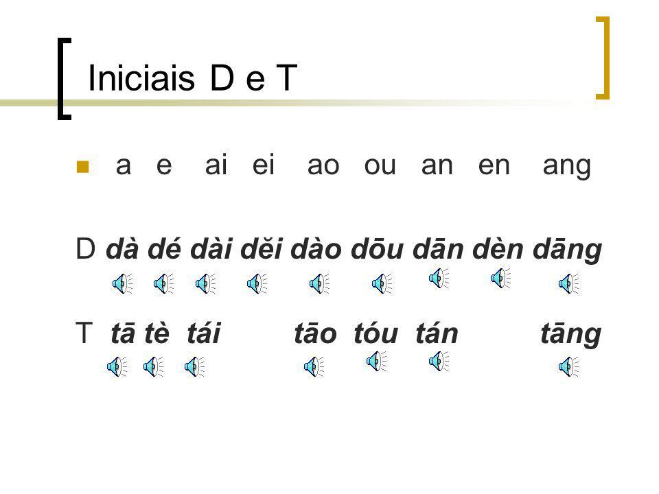 Iniciais D e T a e ai ei ao ou an en ang D dà dé dài dĕi dào dōu dān dèn dāng T tā tè tái tāo tóu tán tāng