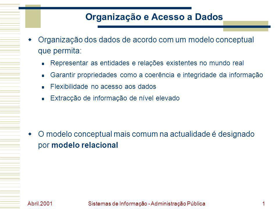 Abril.2001 Sistemas de Informação - Administração Pública1 Organização e Acesso a Dados Organização dos dados de acordo com um modelo conceptual que p