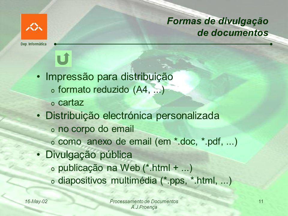 Dep. Informática 16-May-02Processamento de Documentos A.J.Proença 11 Formas de divulgação de documentos Impressão para distribuição o formato reduzido