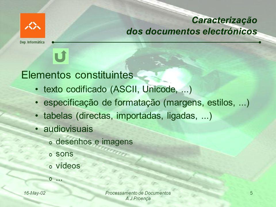Dep. Informática 16-May-02Processamento de Documentos A.J.Proença 5 Caracterização dos documentos electrónicos Elementos constituintes texto codificad