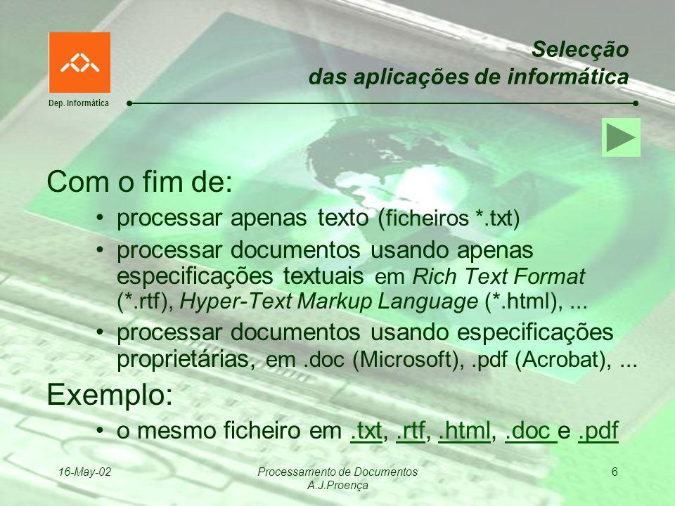 Dep. Informática 16-May-02Processamento de Documentos A.J.Proença 6 Selecção das aplicações de informática Com o fim de: processar apenas texto ( fich