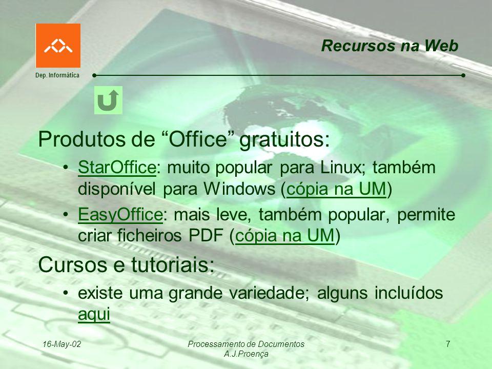 Dep. Informática 16-May-02Processamento de Documentos A.J.Proença 7 Recursos na Web Produtos de Office gratuitos: StarOffice: muito popular para Linux