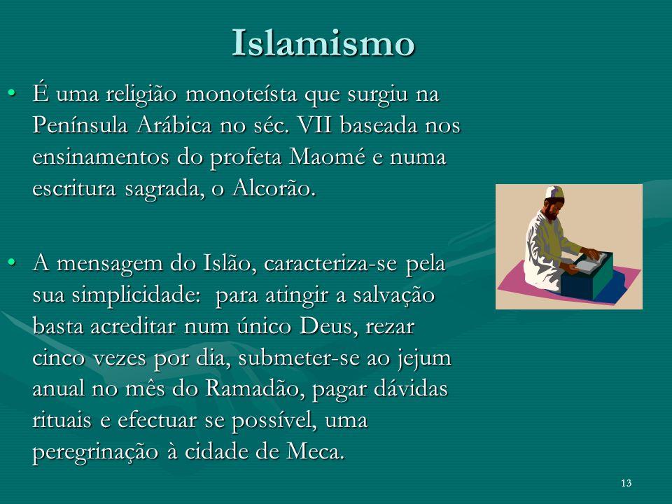 Islamismo É uma religião monoteísta que surgiu na Península Arábica no séc. VII baseada nos ensinamentos do profeta Maomé e numa escritura sagrada, o