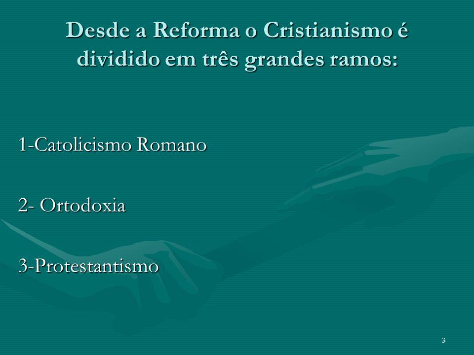 Desde a Reforma o Cristianismo é dividido em três grandes ramos: 1-Catolicismo Romano 2- Ortodoxia 3-Protestantismo 3
