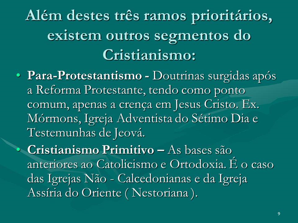 Além destes três ramos prioritários, existem outros segmentos do Cristianismo: Para-Protestantismo - Doutrinas surgidas após a Reforma Protestante, tendo como ponto comum, apenas a crença em Jesus Cristo.