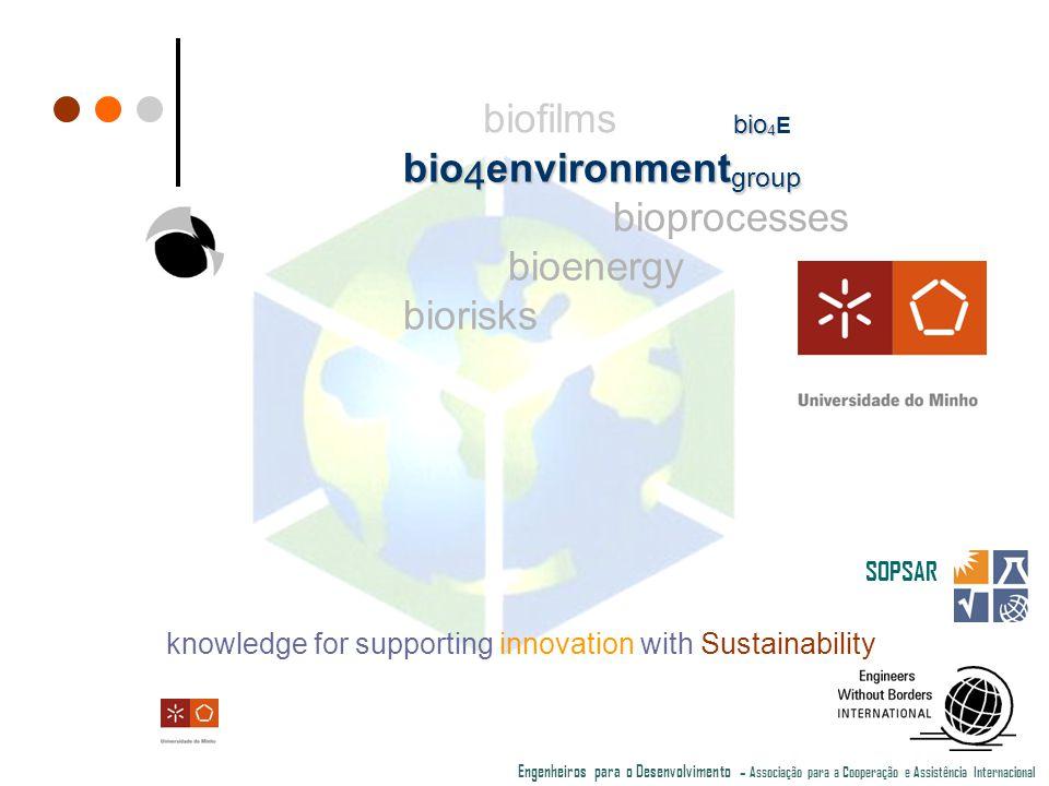 knowledge for supporting innovation with Sustainability SOPSAR Engenheiros para o Desenvolvimento – Associação para a Cooperação e Assistência Internacional biofilms bio 4 environment group bioprocesses bioenergy biorisks bio 4 bio 4 E
