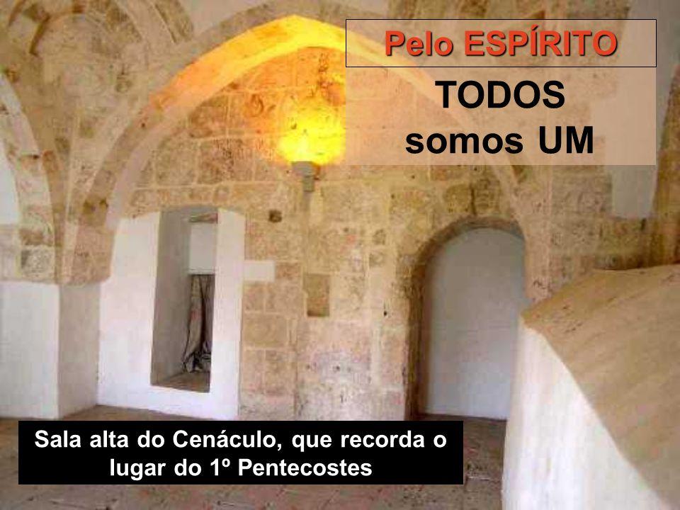 Sala alta do Cenáculo, que recorda o lugar do 1º Pentecostes Pelo ESPÍRITO TODOS somos UM