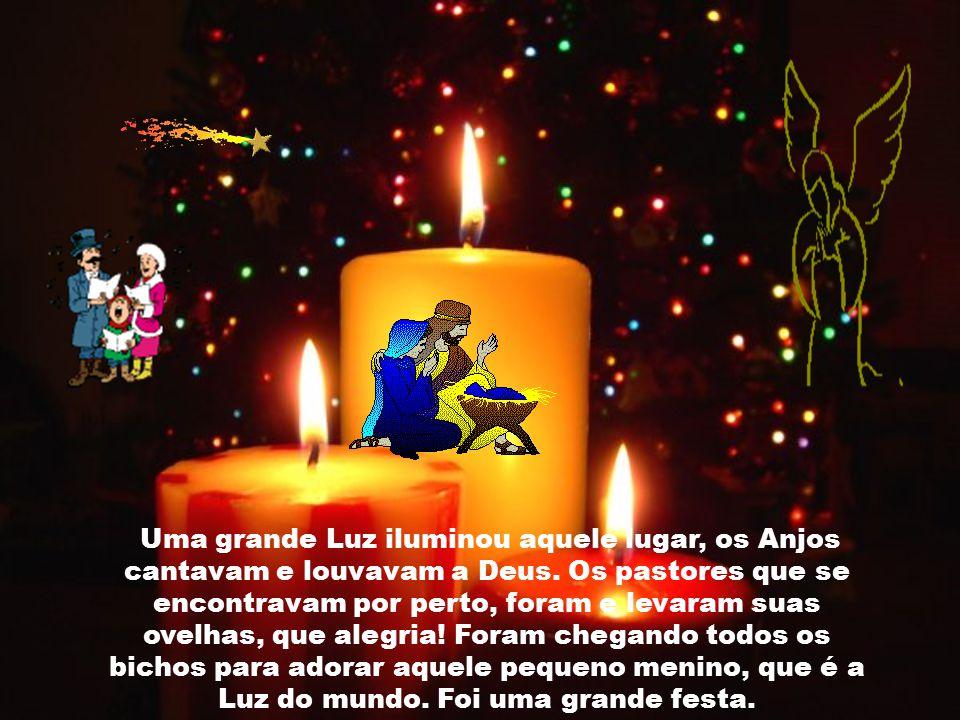 Uma grande Luz iluminou aquele lugar, os Anjos cantavam e louvavam a Deus.