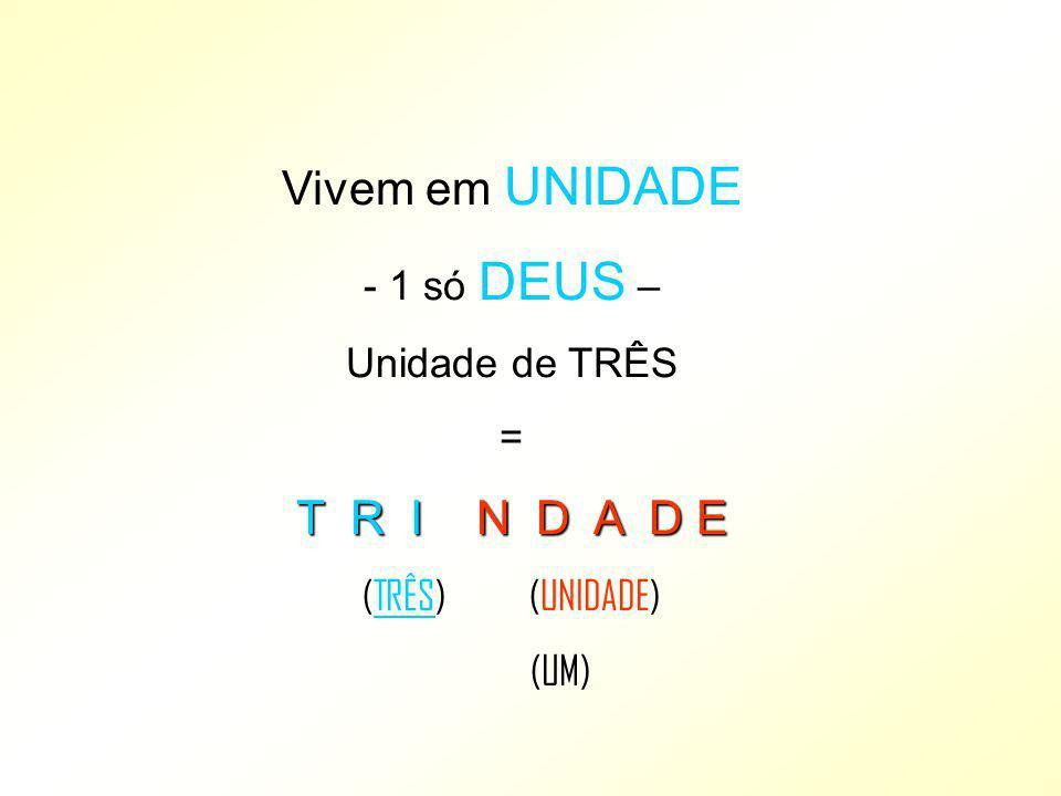 Vivem em UNIDADE - 1 só DEUS – Unidade de TRÊS = T R I N D A D E (TRÊS) (UNIDADE) (UM)