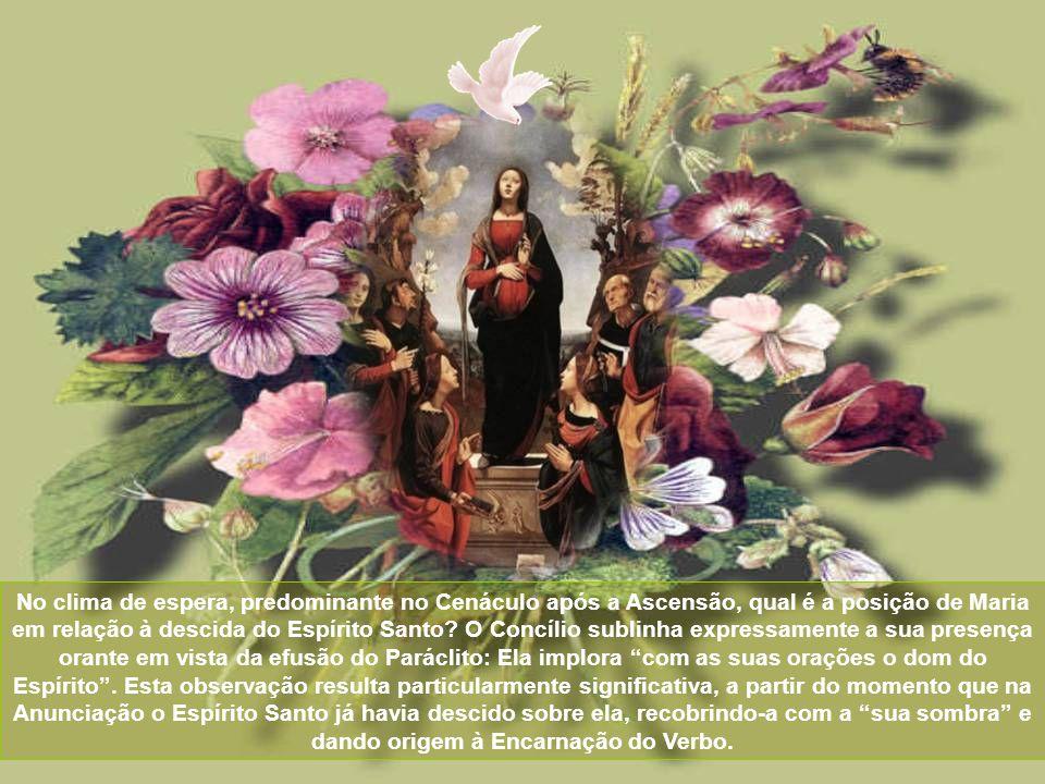 No clima de espera, predominante no Cenáculo após a Ascensão, qual é a posição de Maria em relação à descida do Espírito Santo.