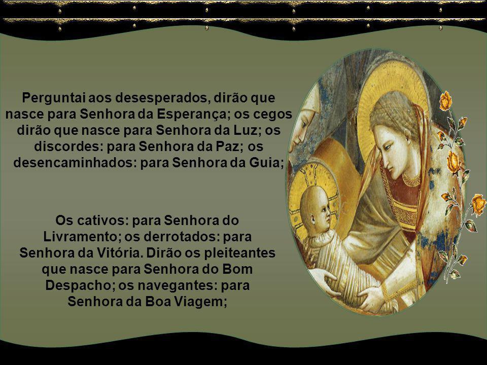 Perguntai aos pobres, dirão que nasce para Senhora dos Remédios; perguntai aos desamparados, dirão que nasce para Senhora do Amparo; perguntai aos des