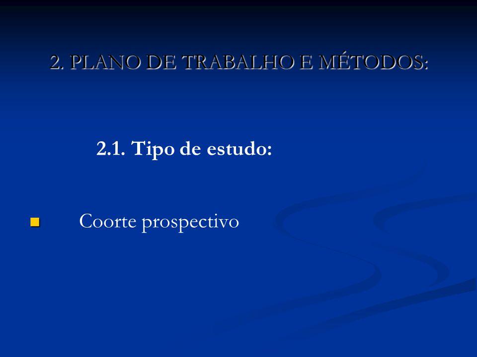 2.1. Tipo de estudo: Coorte prospectivo 2. PLANO DE TRABALHO E MÉTODOS: