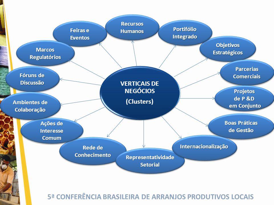 5ª CONFERÊNCIA BRASILEIRA DE ARRANJOS PRODUTIVOS LOCAIS VERTICAIS DE NEGÓCIOS (Clusters) Recursos Humanos Boas Práticas de Gestão Boas Práticas de Ges