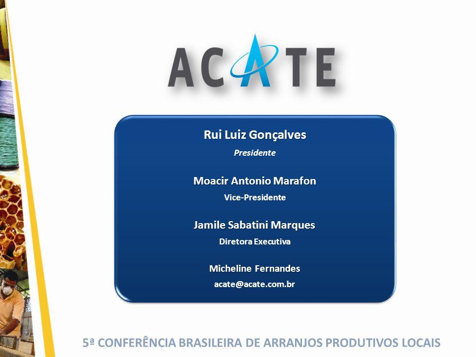 5ª CONFERÊNCIA BRASILEIRA DE ARRANJOS PRODUTIVOS LOCAIS Rui Luiz Gonçalves Presidente Moacir Antonio Marafon Vice-Presidente Jamile Sabatini Marques D