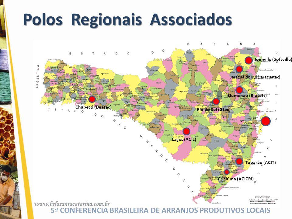 5ª CONFERÊNCIA BRASILEIRA DE ARRANJOS PRODUTIVOS LOCAIS Polos Regionais Associados Blumenau (Blusoft) Rio do Sul (Gtec) Chapecó (Deatec) Criciúma (ACI