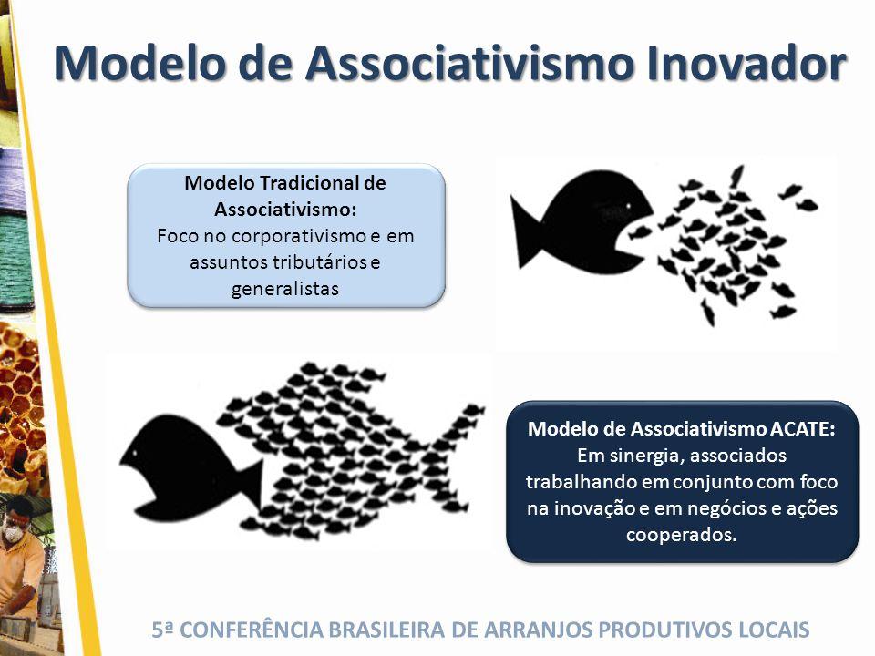 5ª CONFERÊNCIA BRASILEIRA DE ARRANJOS PRODUTIVOS LOCAIS Modelo de Associativismo ACATE: Em sinergia, associados trabalhando em conjunto com foco na in