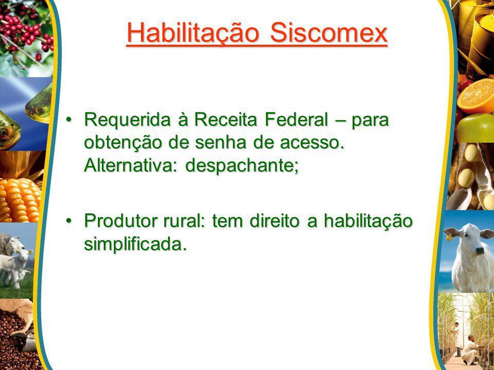 Habilitação Siscomex Requerida à Receita Federal – para obtenção de senha de acesso. Alternativa: despachante;Requerida à Receita Federal – para obten