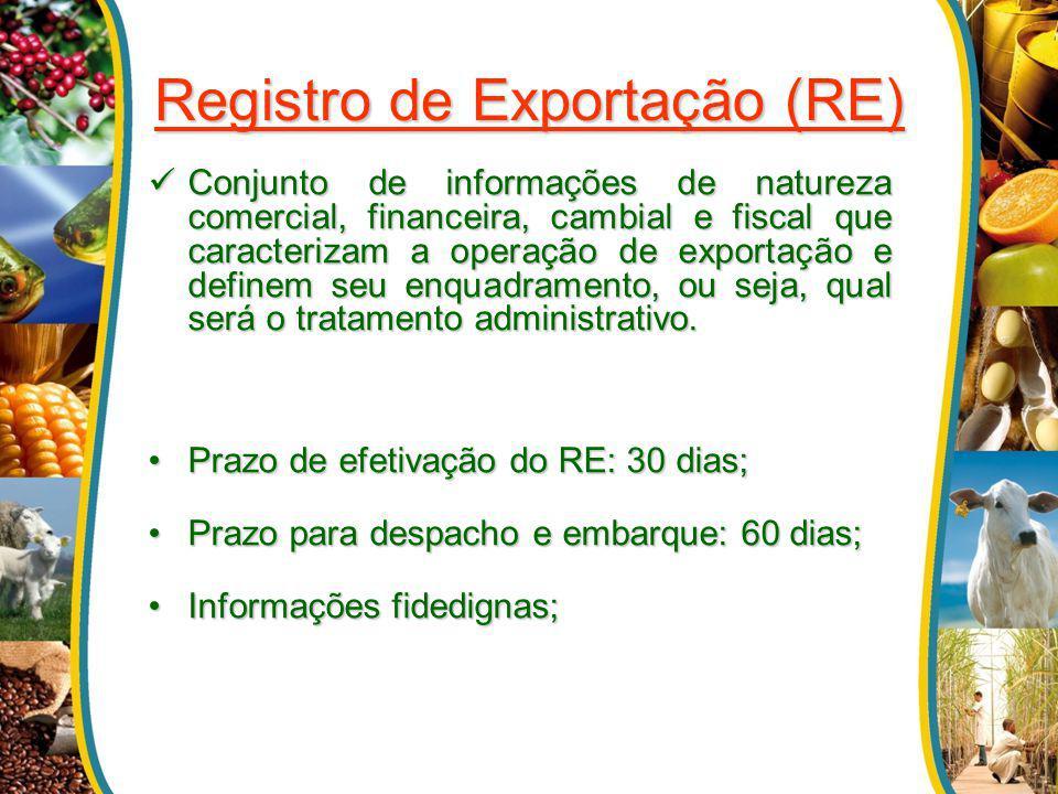 Registro de Exportação (RE) Conjunto de informações de natureza comercial, financeira, cambial e fiscal que caracterizam a operação de exportação e de