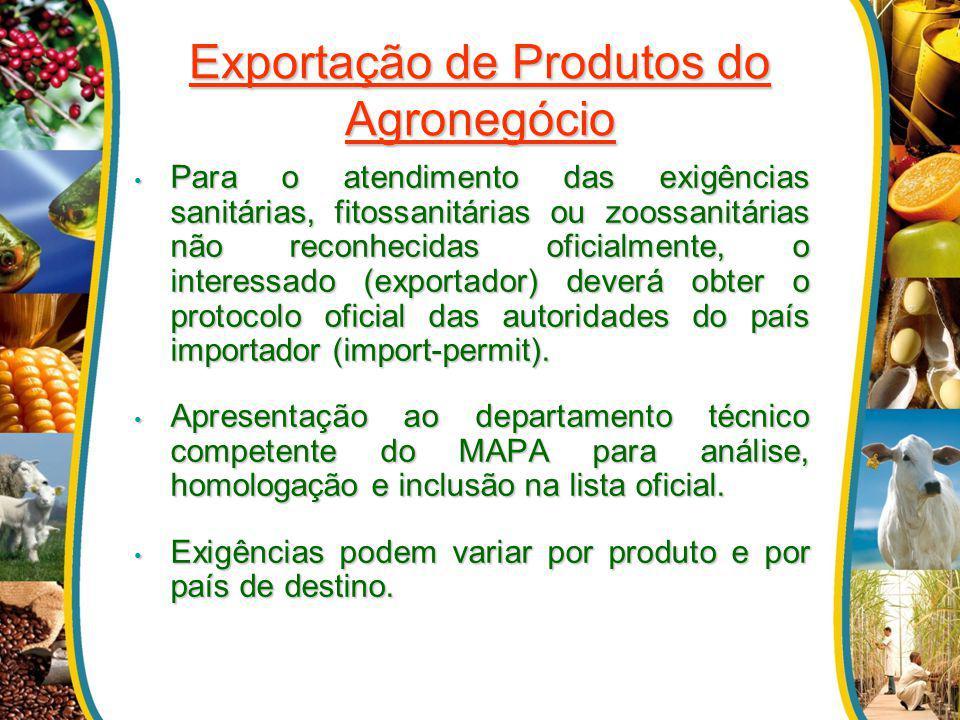 Exportação de Produtos do Agronegócio Para o atendimento das exigências sanitárias, fitossanitárias ou zoossanitárias não reconhecidas oficialmente, o