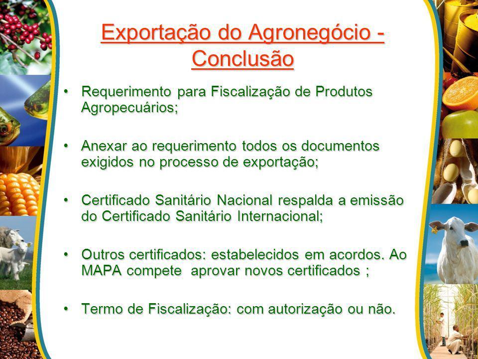Exportação do Agronegócio - Conclusão Requerimento para Fiscalização de Produtos Agropecuários;Requerimento para Fiscalização de Produtos Agropecuário