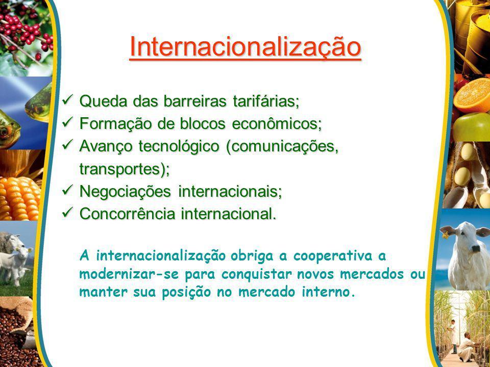 Internacionalização Queda das barreiras tarifárias; Queda das barreiras tarifárias; Formação de blocos econômicos; Formação de blocos econômicos; Avan