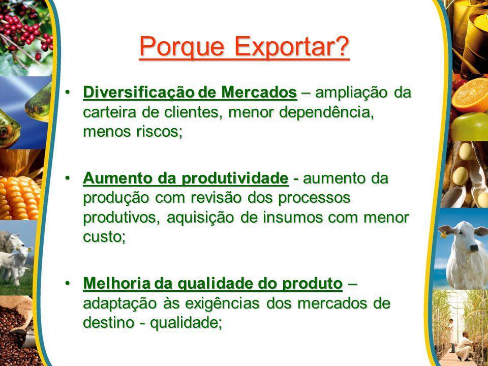 Porque Exportar? Diversificação de Mercados – ampliação da carteira de clientes, menor dependência, menos riscos;Diversificação de Mercados – ampliaçã