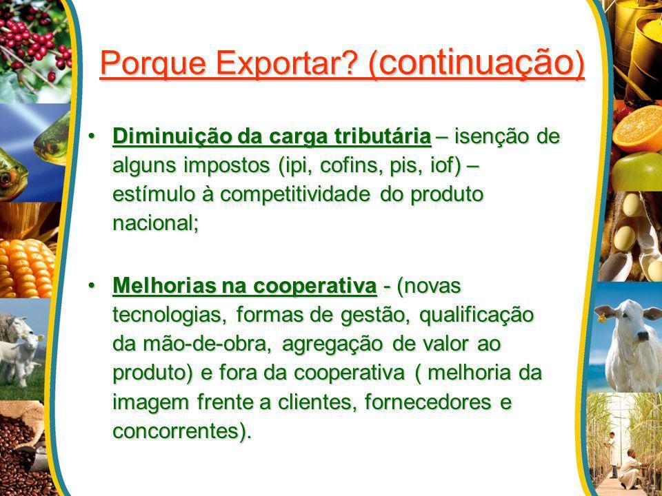 Porque Exportar? ( continuação ) Diminuição da carga tributária – isenção de alguns impostos (ipi, cofins, pis, iof) – estímulo à competitividade do p