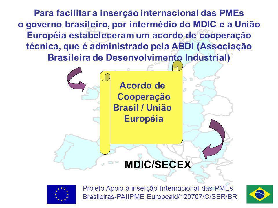 Projeto Apoio à inserção Internacional das PMEs Brasileiras-PAIIPME Europeaid/120707/C/SER/BR Para facilitar a inserção internacional das PMEs o governo brasileiro, por intermédio do MDIC e a União Européia estabeleceram um acordo de cooperação técnica, que é administrado pela ABDI (Associação Brasileira de Desenvolvimento Industrial) Acordo de Cooperação Brasil / União Européia MDIC/SECEX