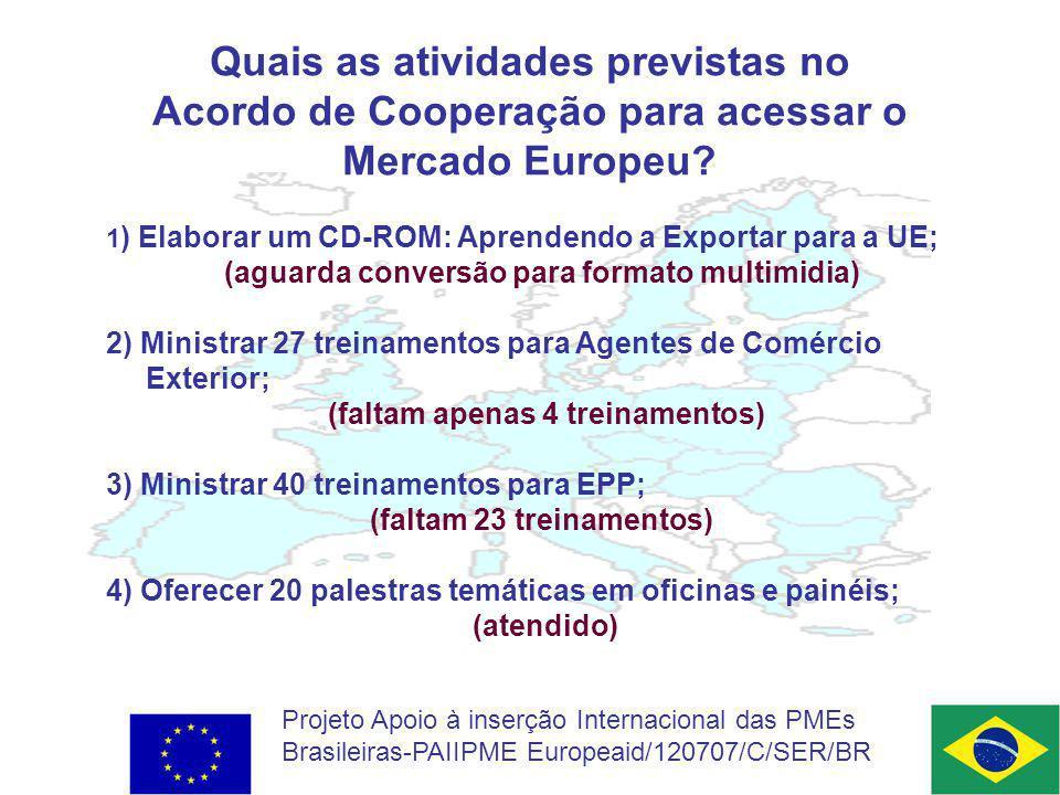 Quais as atividades previstas no Acordo de Cooperação para acessar o Mercado Europeu.