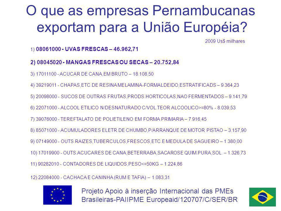 Projeto Apoio à inserção Internacional das PMEs Brasileiras-PAIIPME Europeaid/120707/C/SER/BR O que as empresas Pernambucanas exportam para a União Européia.