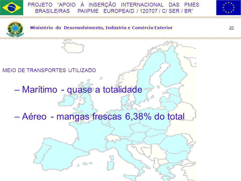 Ministério do Desenvolvimento, Indústria e Comércio Exterior 20 PROJETO APOIO À INSERÇÃO INTERNACIONAL DAS PMES BRASILEIRAS PAIIPME EUROPEAID / 120707 / C/ SER / BR MEIO DE TRANSPORTES UTILIZADO –Marítimo - quase a totalidade –Aéreo- mangas frescas 6,38% do total