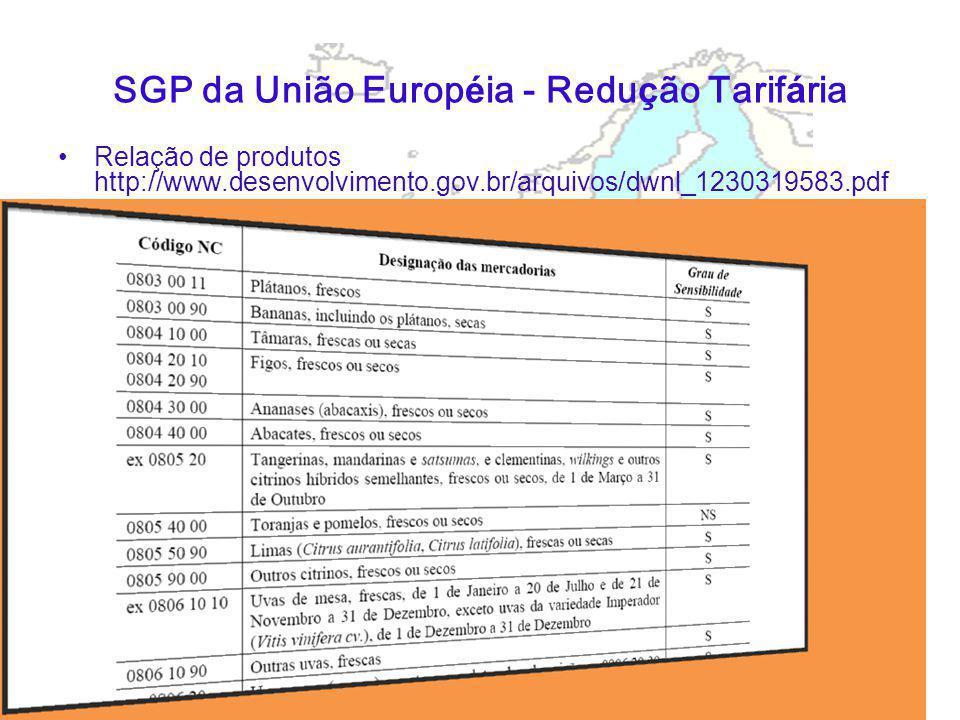 SGP da União Europ é ia - Redu ç ão Tarif á ria Relação de produtos http://www.desenvolvimento.gov.br/arquivos/dwnl_1230319583.pdf