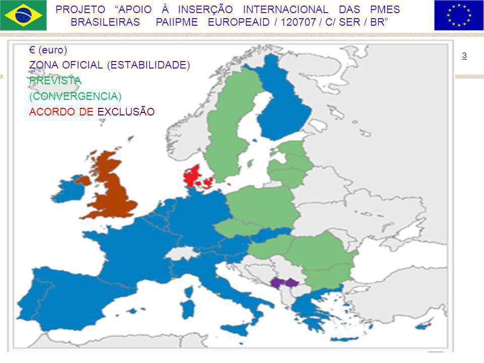 Ministério do Desenvolvimento, Indústria e Comércio Exterior 3 PROJETO APOIO À INSERÇÃO INTERNACIONAL DAS PMES BRASILEIRAS PAIIPME EUROPEAID / 120707 / C/ SER / BR (euro) ZONA OFICIAL (ESTABILIDADE) PREVISTA (CONVERGENCIA) ACORDO DE EXCLUSÃO