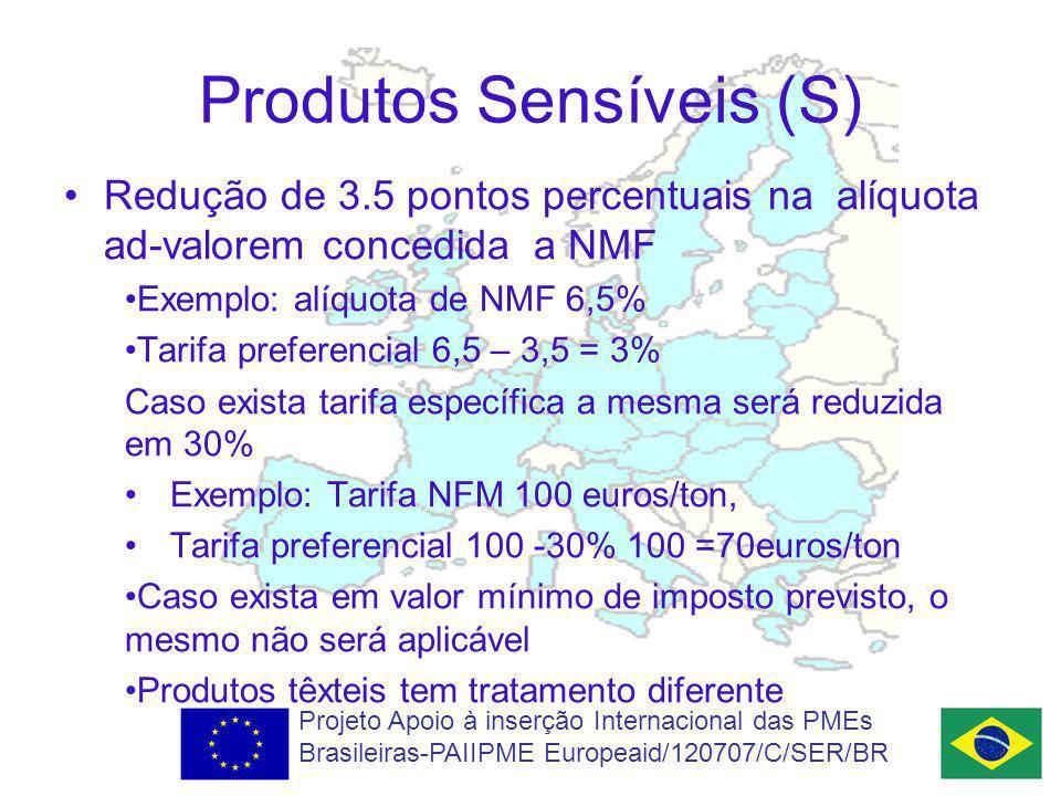Produtos Sensíveis (S) Redução de 3.5 pontos percentuais na alíquota ad-valorem concedida a NMF Exemplo: alíquota de NMF 6,5% Tarifa preferencial 6,5 – 3,5 = 3% Caso exista tarifa específica a mesma será reduzida em 30% Exemplo: Tarifa NFM 100 euros/ton, Tarifa preferencial 100 -30% 100 =70euros/ton Caso exista em valor mínimo de imposto previsto, o mesmo não será aplicável Produtos têxteis tem tratamento diferente Projeto Apoio à inserção Internacional das PMEs Brasileiras-PAIIPME Europeaid/120707/C/SER/BR