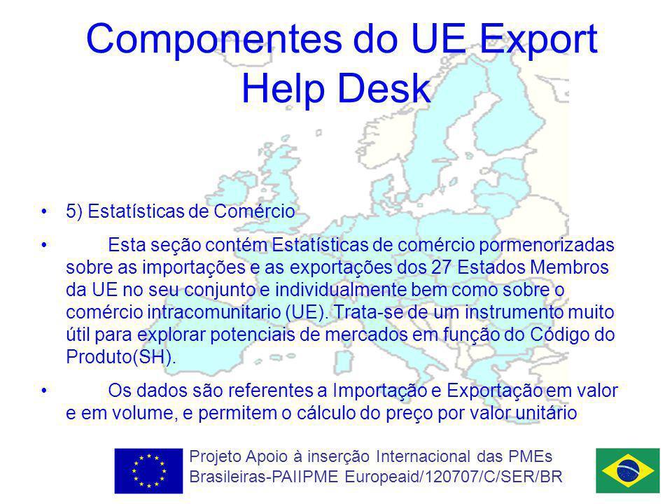 Componentes do UE Export Help Desk 5) Estatísticas de Comércio Esta seção contém Estatísticas de comércio pormenorizadas sobre as importações e as exportações dos 27 Estados Membros da UE no seu conjunto e individualmente bem como sobre o comércio intracomunitario (UE).