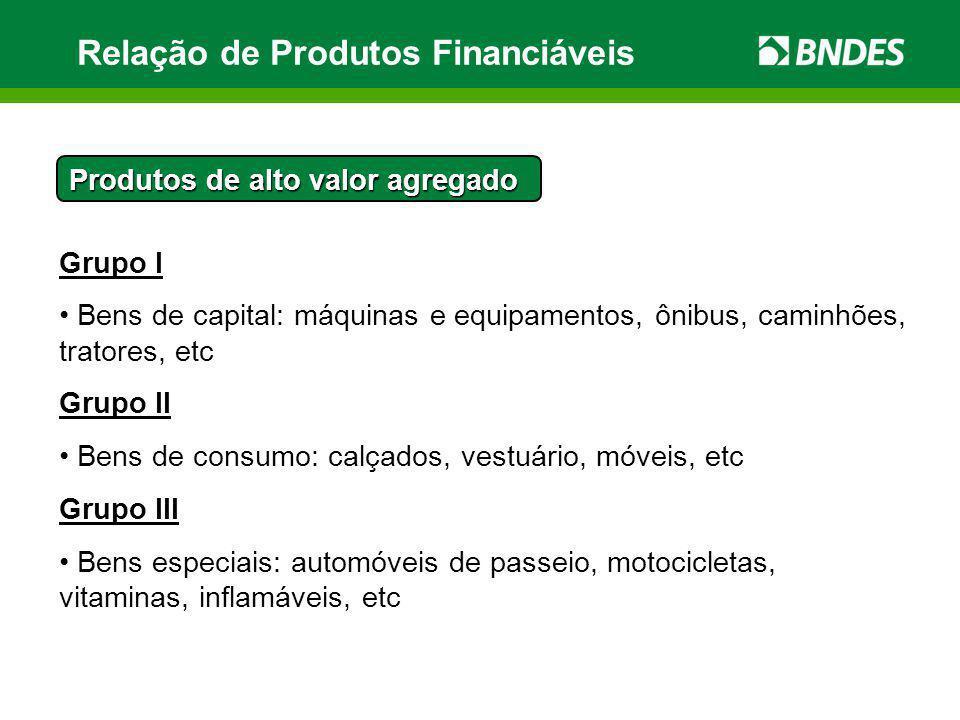 Relação de Produtos Financiáveis Grupo I Bens de capital: máquinas e equipamentos, ônibus, caminhões, tratores, etc Grupo II Bens de consumo: calçados