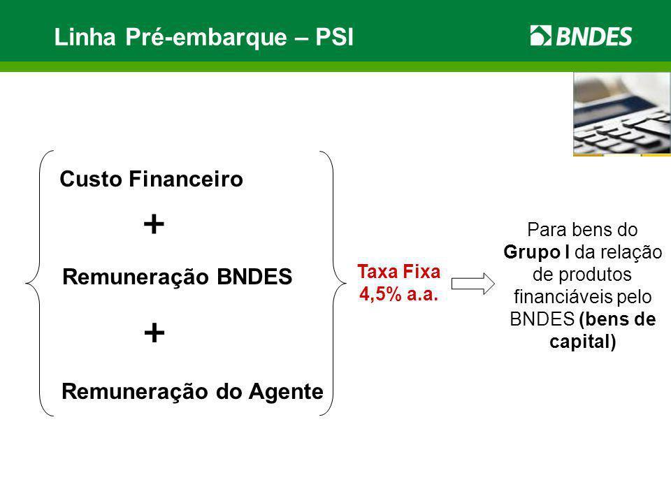 Linha Pré-embarque – PSI Custo Financeiro + Remuneração BNDES + Remuneração do Agente Taxa Fixa 4,5% a.a. Para bens do Grupo I da relação de produtos